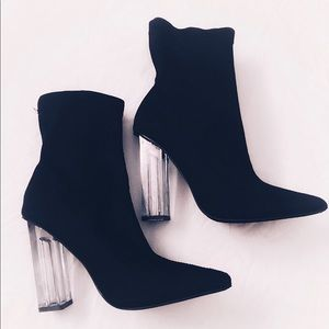 Lucite Sock Ankle Booties